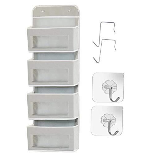 Organizador de almacenamiento para colgar en la pared sobre la puerta, 4 bolsillos transparentes para colgar en la habitación de los niños o guardería, ganchos incluidos