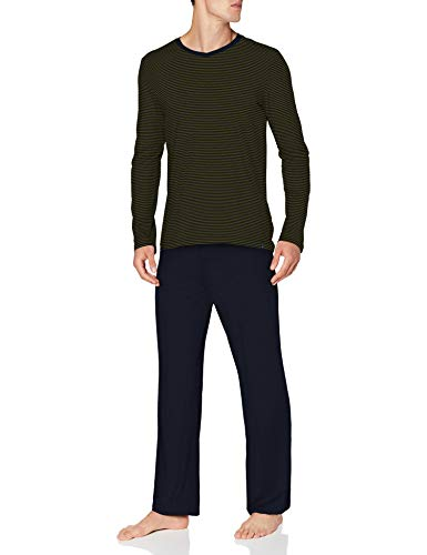 Schiesser Herren Long Life Soft Schlafanzug lang Rundhals Pyjamaset, Curry, 54