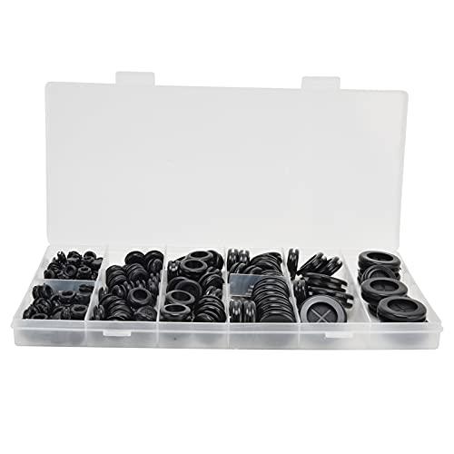 LANTRO JS - Kit surtido de ojales de goma de 170 piezas, tapón de orificio de goma redondo de doble cara, flexible, conveniente, resistente al calor, resistente al desgaste, anillo de ojal para hardwa