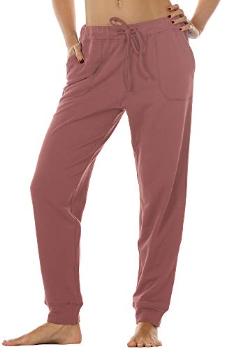 icyzone Damen Hose Jogginghose Lang Sweathose - Sporthose Trainingshose Running Gym Pants (XL, Dusty Pink)