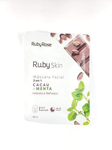 Máscara Facial De Tecido Skin Ruby Rose CACAU + MENTA HB-710
