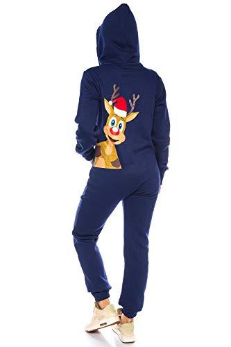 Crazy Age Damen Mädchen Jumpsuit Onesie Overall Einteiler weihnachtlich (Dunkelblau Basic) - 5
