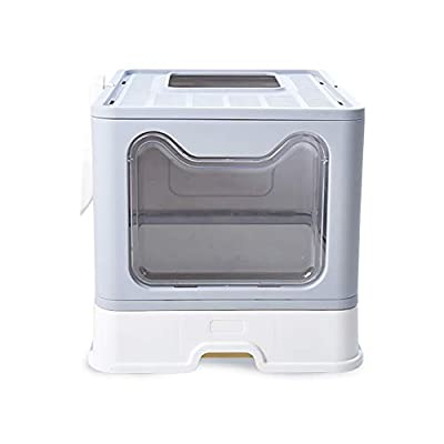 LIANJIE Cat Litter Box With Lid Large Foldable,Cats Litter Tray With Top Entry Pet Toilet Including Scoop,Easy To Install And Large Space,Effectively Avoid Odor.Perfect For Every Cat (Grey),Gray