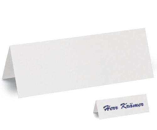 100x Tischschilder, Faxland Namensschilder groß, 21x7, 5 cm, Karton weiß blanko zum selbstbeschriften