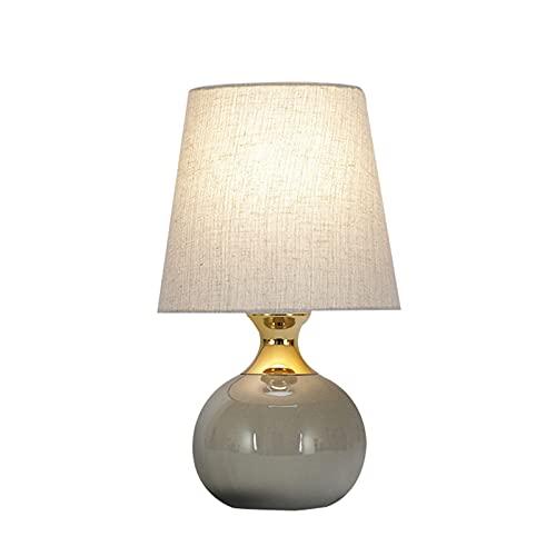 Lámpara de Mesita de Noche Control Tactil Moderna Lampara para Leer Regalo del Dia de la Madre Cuerpo de lámpara de cerámica de Pantalla de Tela Lámpara de Mesa Decorativa cálida,Grijs