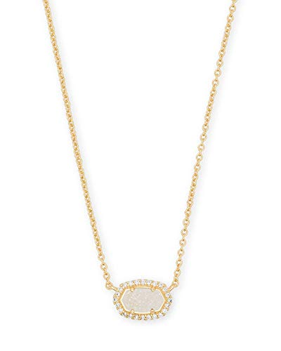 Kendra Scott Chelsea Pendant Necklace for Women, Dainty Fashion Jewelry, 14k Rose Gold-Plated, Iridescent Drusy