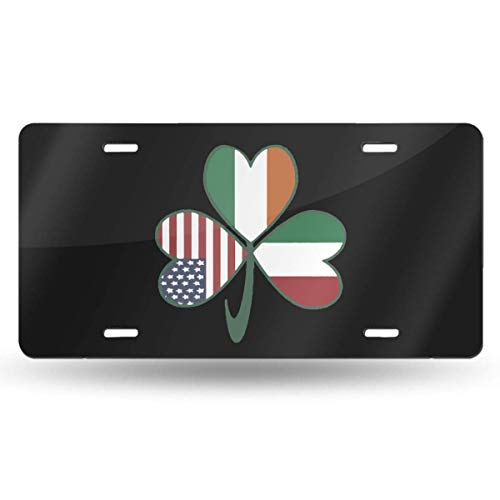 BRIGHT JUNAY License Plate Italian Irish American Shamrock Decorative Car Front License Plate Tag, Aluminum License Plate, 6 X 12 Inch (4 Holes)