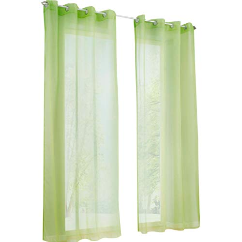 Yujiao Mao Voile Vorhang Ösen Gardinen Schal Uni Transparent Ösenvorhang 1er-Pack BxH 140x225cm Grün
