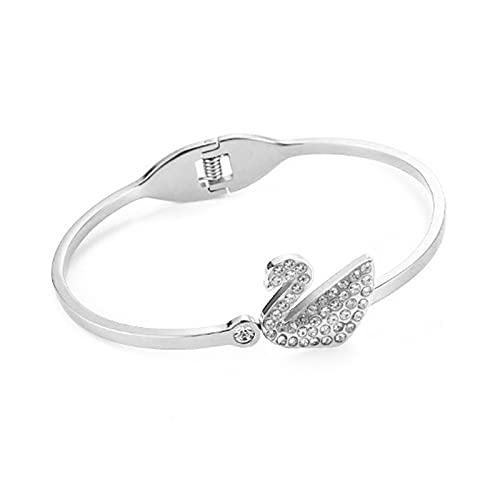 Pulsera, pulsera de dama ajustable, aleación de alta calidad, diseño de cisne pequeño con estilo, puede servir como un regalo del día de la madre