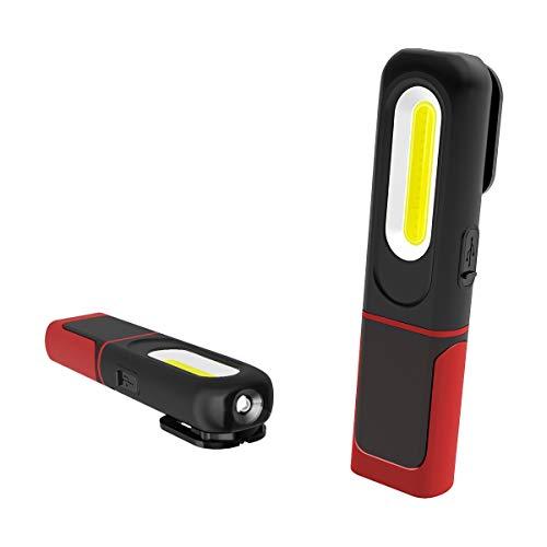 AuRiver Linterna de Trabajo COB LED, Luz de Trabajo portátil con Cuerpo Giratorio de 360 ° Recargable 2 en 1 Superbrillante Dual Luz Modo con magnético Soporte y Gancho Colgante, para Camping,Taller