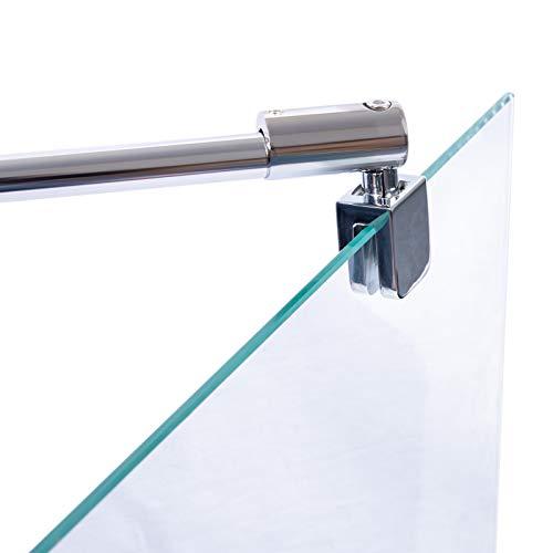 Schulte Stabilisator für 5-8 mm Glas, 122 cm kürzbar und winkelbar, Chromoptik, Haltestange für Glas/Wand Stabilisation, Wandhalterung für Duschwand