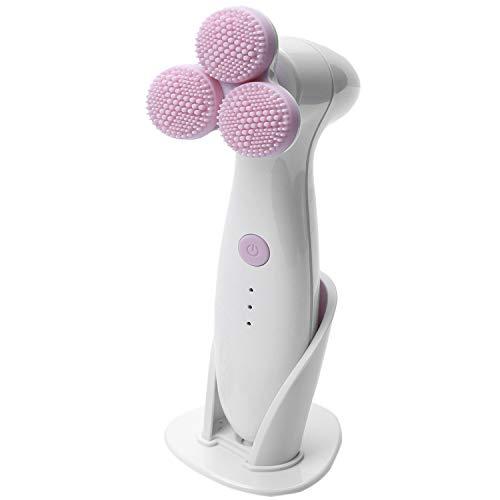 Nrpfell Rose Sonic Facial Cleaner Brush Nettoyage en Profondeur 3 Roues 3D Brosse de Nettoyage éLectrique Masseur pour le Visage éPurateur Soins de la Peau Beauté Dispositif