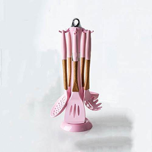 JYDQM 1/6 PCS Herramientas de Cocina Rosa Conjunto de Utensilios de Cocina de Silicona Premium Conjunto con Caja de Almacenamiento Tuernos Tuernos Pinzas Espátula Sopa Cuchara