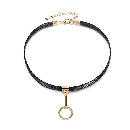 Kercisbeauty zwart lederen choker met gouden ring hanger vintage gotische sieraden voor vrouwen meisjes partij