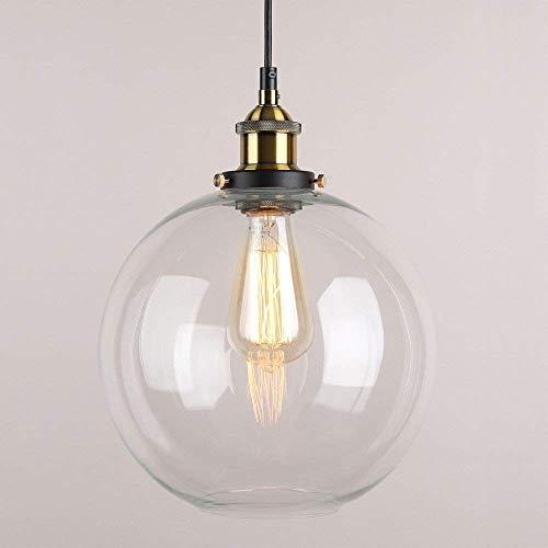 Glas Pendelleuchte, kreative Vintage Industrial Metall-Finish Klarglas Ball runden Schatten Loft Pendelleuchte Retro-Deckenleuchte Vintage-Lampe (Globus)