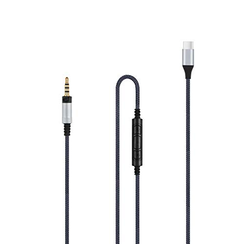Type-C USB C to 2.5mm Audio Replacement Cable - in-Line Mic Remote Volume Control Cord Compatible with Sennheiser Momentum, Momentum 2.0, Momentum 3 Wireless, HD1 Headphones