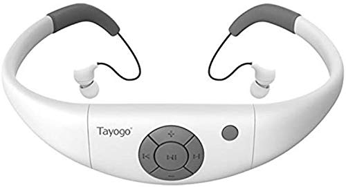 Tayogo Waterproof MP3 Player for Swimming with Shuffle Feature-White
