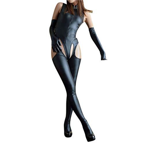 Nieuwe Nachtclub Lakleer Lingerie Zwarte Sexy Jumpsuit Vierzijdige Open Leren Broek Jumpsuit Pak Met Handschoenen,Black,XL