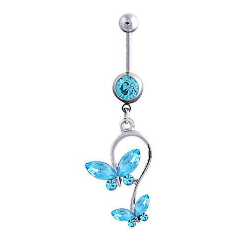 Yosemite - Pendientes para mujer con forma de U y diamantes de imitación de acero de titanio, 1 pieza azul (lake blue)