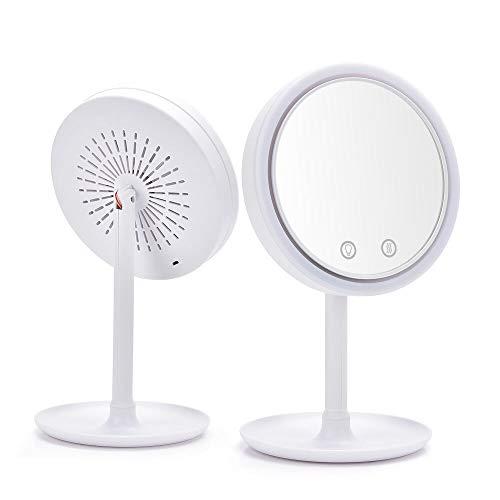 PPuujia 180 grados de rotación LED hacer espejo con ventilador maquillaje vanidad espejo tres en uno mesa iluminada maquillaje espejo hogar viaje