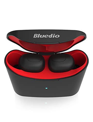 Auriculares Bluetooth, Bluedio T Elf Auriculares Inalámbricos Estéreo In-Ear Bluetooth 5.0 Auriculares con Caja de Carga para Teléfono Celular/Running/Android/iOS, 7 Horas de Tiempo de Juego, Rojo