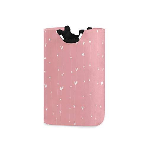 RunningBear Cesta de lavandería plegable con corazones rosados, cesta de ropa de gran capacidad para baño, dormitorio