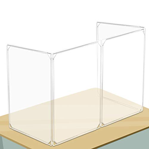 100FIXEO Plastic Barrier Desk Shields,Clear Room Divider Sneeze Guard Portable Shield for Counter Partition for Office Plastic Sneeze Guard 4PCS