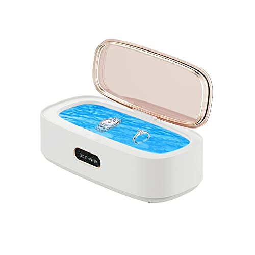Ultraschallreinigungsgerät 300ml Ultraschallreiniger 46KHz Edelstahl Haushalts Ultraschallreinigungsmaschine für Brillen Schmuck Ringe Uhren Münzen Halsketten Make-up Pinsel (Weiß)