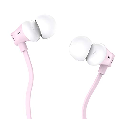 Earbuds, Vogek Tangle-Free Flat Cord Ergonomic in-Ear Headphones with Dynamic Crystal Clear Sound, Earphones with S/M/L Eartips Compatible with Samsung, Android Phone and More (Pink)