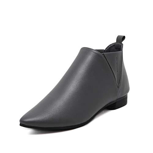 SMSZTYM Automne Bottes d'hiver De Cheville De Bottes pour Femmes en Cuir PU Chaussures Femme Automne Bottines pour Les Femmes Noir Petit Taille 33