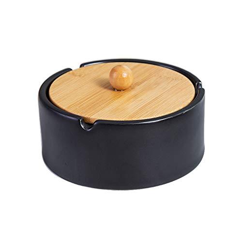 Cenicero para Exterior e Interior Cenicero de cerámica con tapas, Ronda de cigarros cenicero, simple personalizada Oficina de estar Room.Gift, Decoración, Negro, Verde, Blanco para Hogar Oficina, Apar