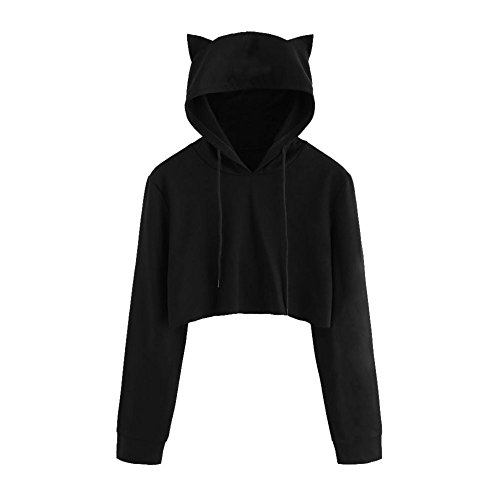 Damen Bluse, KIMODO Frauen Cat Ear Long Sleeve Hoodie Sweatshirt Hooded Pullover Tops Blouse (Schwarz, L)