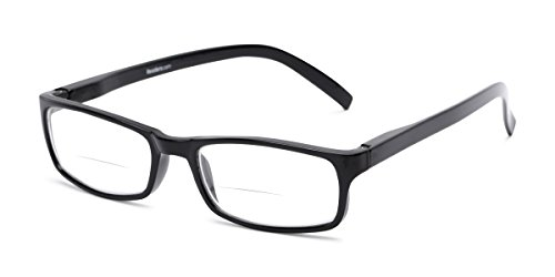 Readers.com Reading Glasses: The Vancouver Bifocal Reader, Plastic Rectangle Style for Men and Women - Black, 1.50