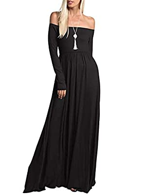 Amoretu Womens Casual Long Sleeve Off Shoulder Maxi Long Dress with Pocket