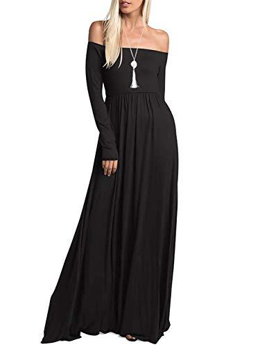 Amoretu Women's Long Sleeve Off Shoulder Maxi Long Dress with Pocket(Black,XL)