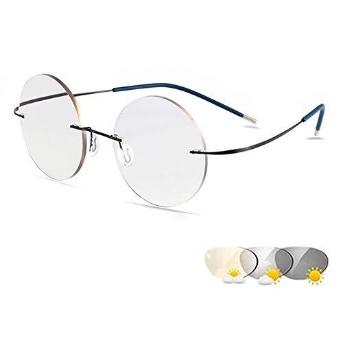 ZZAI Gafas de Lectura PhotoChromic Redondo sin Marco/Hombres y Mujeres Titanium Presbyopia Gafas de Sol - 6 Diopter Negro- + 2.0