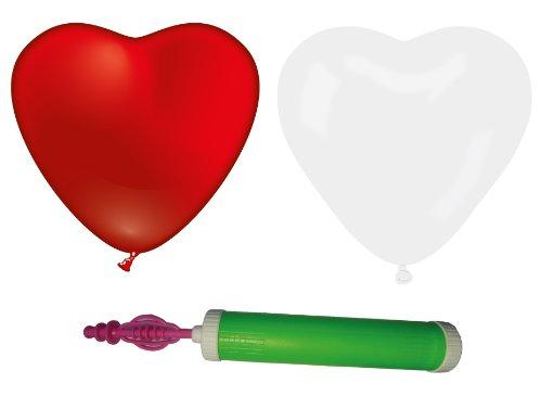 Karaloon-BBS G06099-50 - Hartballonnen set met dubbele slagpomp Space, diameter: 30 cm, 50 stuks, rood/wit
