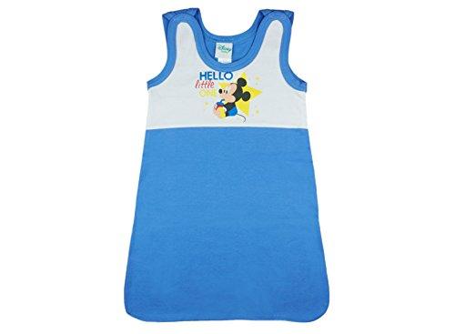 Disney - Mickey Mouse Baby- und Kinder- Sommer-Schlafsack ÄRMELLOS aus Baumwolle, UNGEFÜTTERT, Grösse 56-62, 68-74, 80-86, 92-98 mit Druck-Knöpfen und Bein-Freiheit in Blau Farbe Hellblau, Größe 68/74