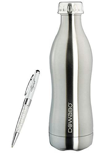 Gourde Dowabo en acier inoxydable écologique - Bouteille isotherme - 12H chaud et 24H froid - 500 ml / 750 ml - Avec stylo à bille favori (500 ml) - Argenté