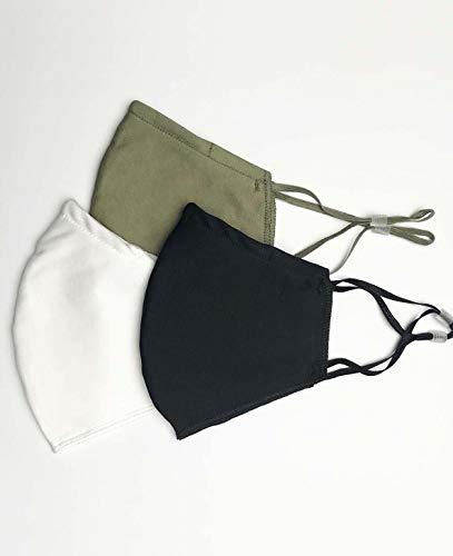 Pack de 3 Mascarillas Reutilizables y Lavables de Tela Algodon Homologadas - Comodas y Respirables - Máscaras Certificadas (1 Negra, 1 Verde, 1 Blanca)