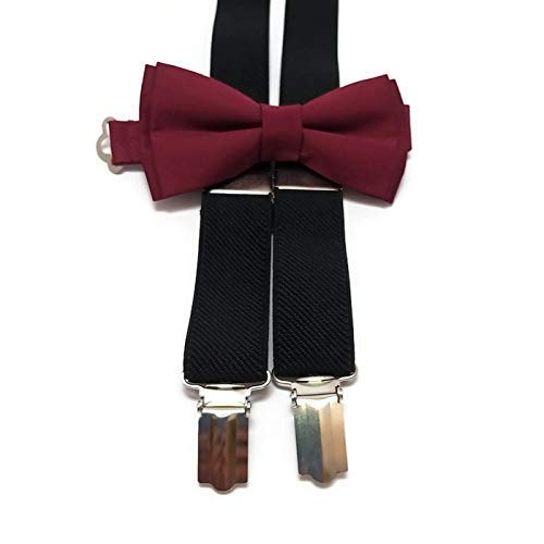 BLACK suspenders Super special price and BURGUNDY WINE plain for bow cotton groo tie Ranking TOP19