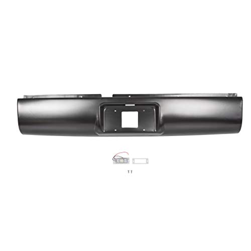 KUAFU Rear Roll Pan Bumper with Light License Plate Compatible with 1994-2003 S10 S15 Sonoma GMC Pickup Fleetside Steel