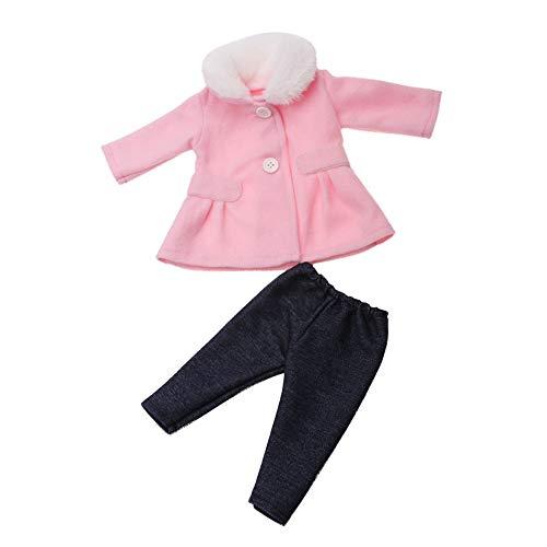 Uteruik Puppenkleidung für 46 cm große Mädchenpuppen Winter Casual Outfits – Langarm Mantel und Hose Kostüm Zubehör, 2 Stück/Set (Pink)