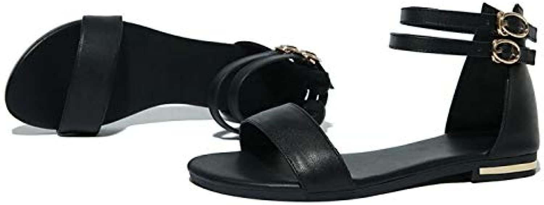 High High Heels Sandalen Fashion Echtes Leder Flach Big  Small Größe 31-46 Sandalen Sommer Stil Frauen Plattformen Freizeit Schuhe Frau 010-24 3.5 Schwarz
