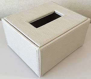 ハーフティッシュケース レザー調 ベージュ W120×D140×H70mm エアファクトリー
