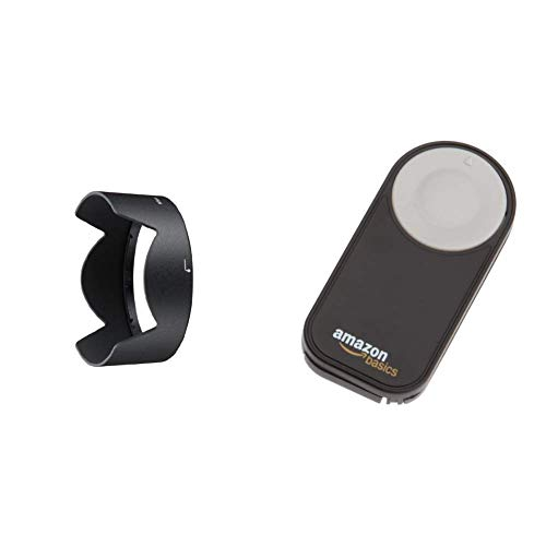 Nikon HB-32 - Parasol para Objetivos, Color Negro + AmazonBasics - Disparador inalámbrico para cámara réflex Digital, (5 Metros), Negro