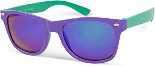 styleBREAKER Kinder Nerd Sonnenbrille mit Kunststoff Rahmen und Polycarbonat Gläsern, klassiches Retro Design 09020056, Farbe:Gestell Lila-Grün/Glas Blau verspiegelt