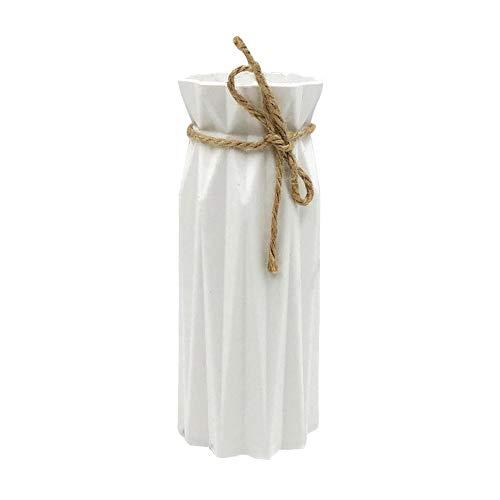 Prosperveil - Florero de ceramica artificial con cuerda de canamo para boda, mesa de comedor, arreglo de flores, sala de estar, dormitorio, decoracion del hogar