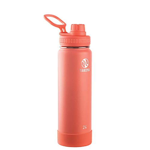 Takeya Actives Insulated Stainless Steel Water Bottle with Spout Lid, 24 oz, Coral