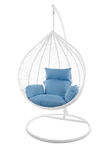 Kideo Komplettset: großer Hängesessel mit Gestell & Kissen, Indoor & Outdoor, Poly-Rattan (Korb & Gestell: weiß, Kissen: blau Nest (3070_royal_Blue))